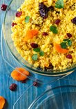 Couscous with dried fruit, sliced almonds and yellow curry