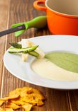 Two-colored asparagus cream with parmesan cookie